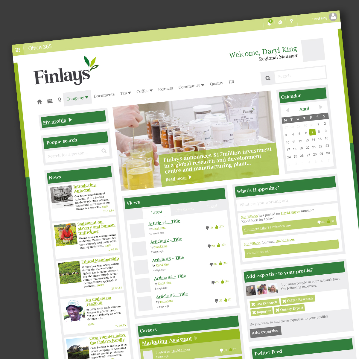 Finlays Intranet site