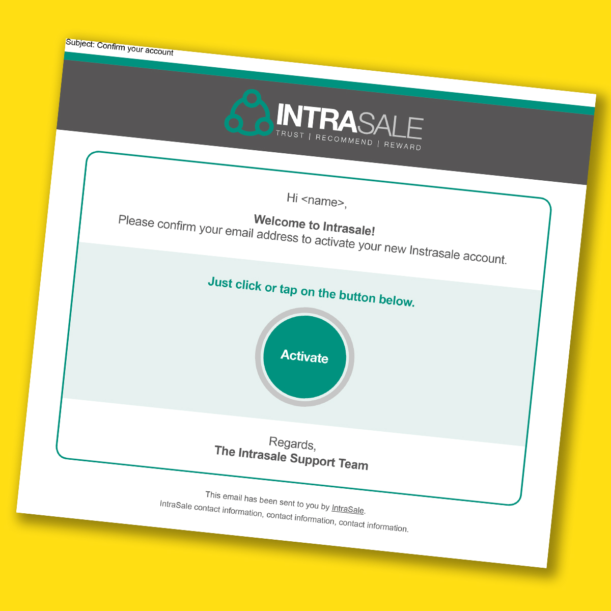 Intrasale registration automated emailer